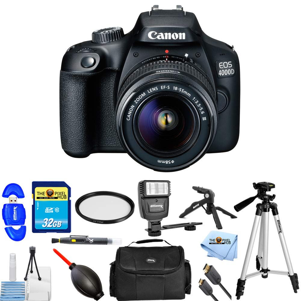 Canon EOS 4000D / Rebel T100 with EF-S 18-55mm f/3.5-5.6 III PRO Bundle with 32GB SD, Flash, Tripods, Gadget Bag, HDMI Cable + More [International Version] by Pixel Hub