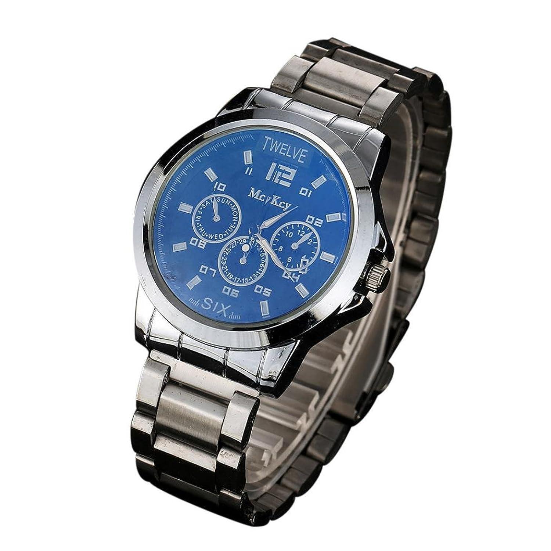 オスシンプルアナログ腕時計、Sinmaレジャー腕時計ステンレスバンドクオーツブレスレット腕時計for mcykcy ブルー B0722KXP9Mブルー