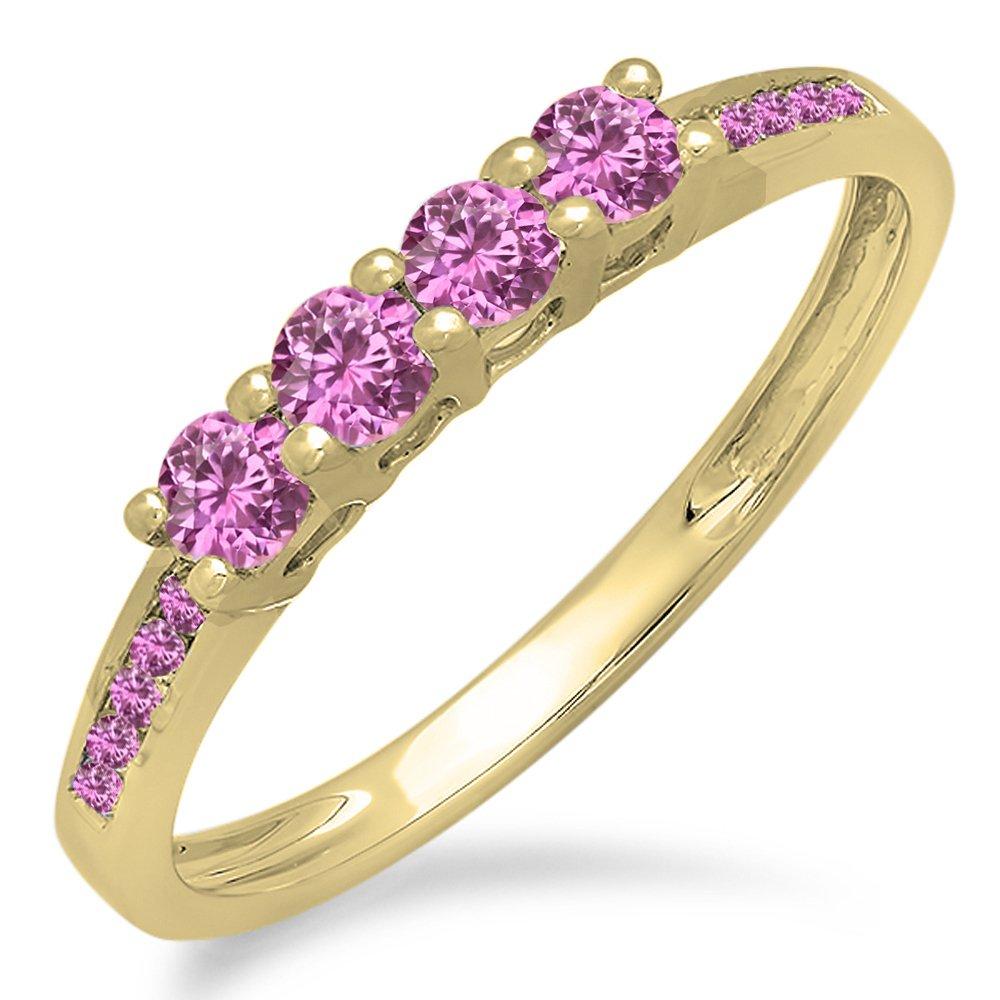 Dazzlingrock Collection 0.50 Carat (ctw) 14K Round Pink Sapphire Ladies Wedding Band Ring 1/2 CT, Yellow Gold, Size 8 by Dazzlingrock Collection