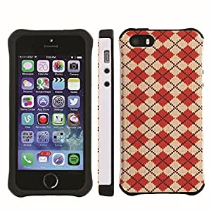 [ArmorXtreme] Drop Proof Dual Layer Protection Case (Argyle Red) for Iphone 5s