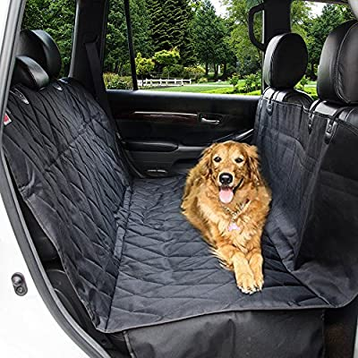 Dog Car Seat Covers with Nonslip Backing, Waterproof & Scratch proof Pet Car Seat Covers for Cars, Trucks & SUVs - Black, Machine Washable & Hammock Convertible