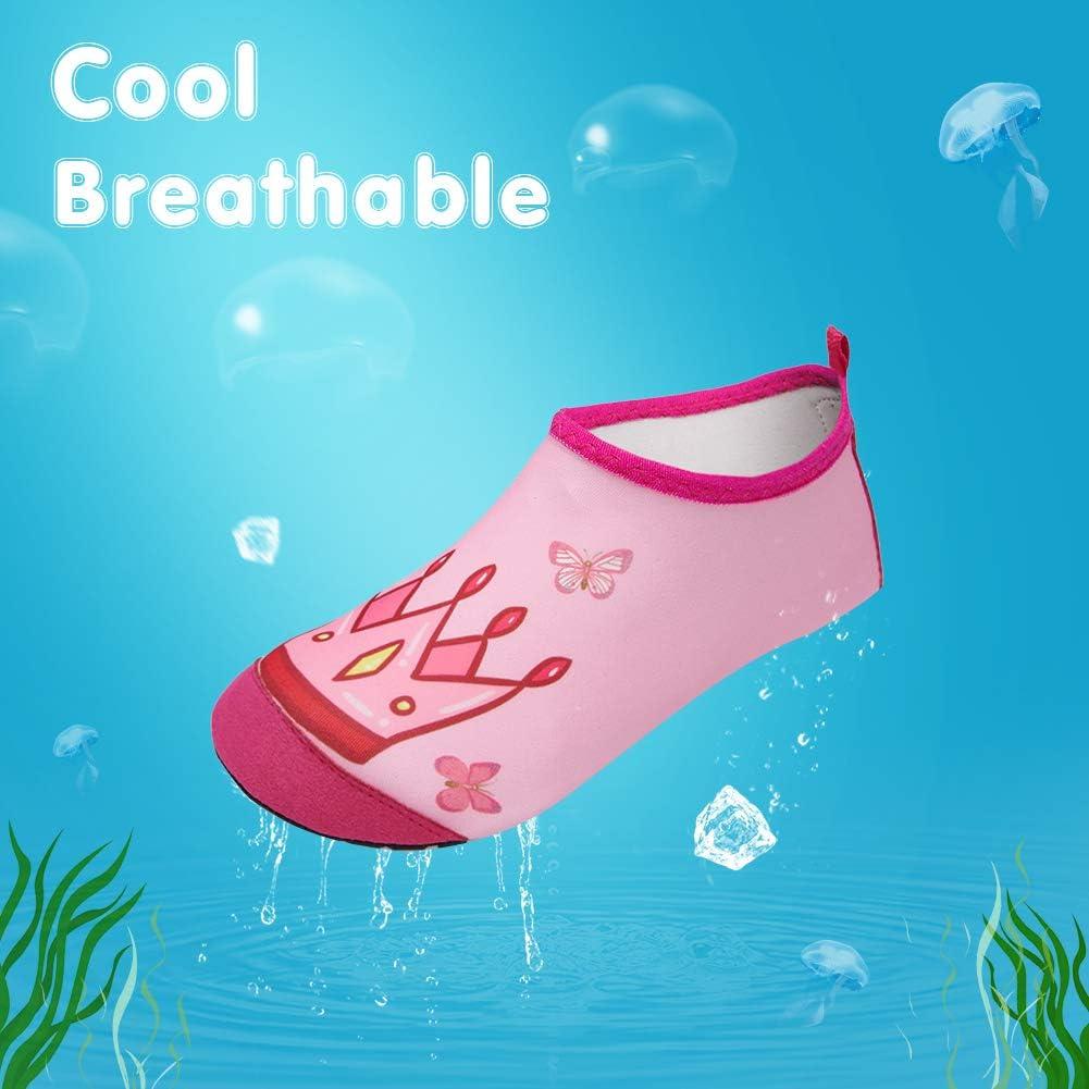 YALOX Kids Water Shoes Infant Toddler Swim Beach Aqua Pool Socks Yoga Shoes Quick Dry Non-Slip Water Skin Barefoot Walking Shoes for Little Kid Boys Girls Outdoor Sports