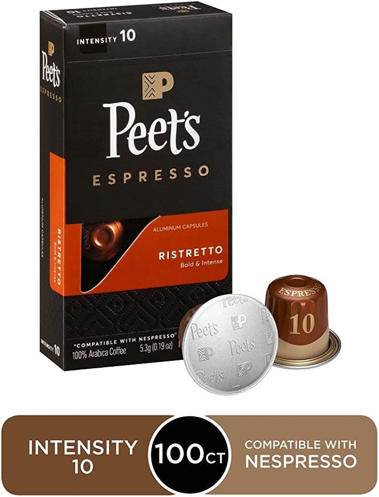Peet's Coffee Espresso Capsules Crema Scura, Intensity 9, 100 Count Single Cup Coffee Pods