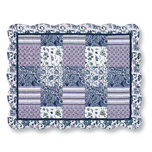 Collections Etc Christina Blue & Lavender Floral Paisley Patchwork Pillow - Standard Sham Christina