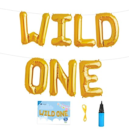 16 INCH WILD ONE Kids First Birthday Balloons Baby Girl Boy 1st Bday Party Supplies