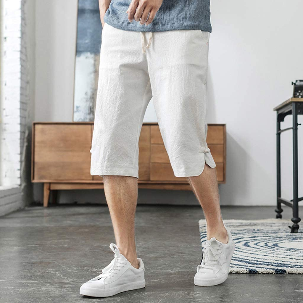 Boy Classic Fit Perfect Comfort Stretch Short Pants with Elastic Waist and Pockets Mens Cotton and Linen Shorts
