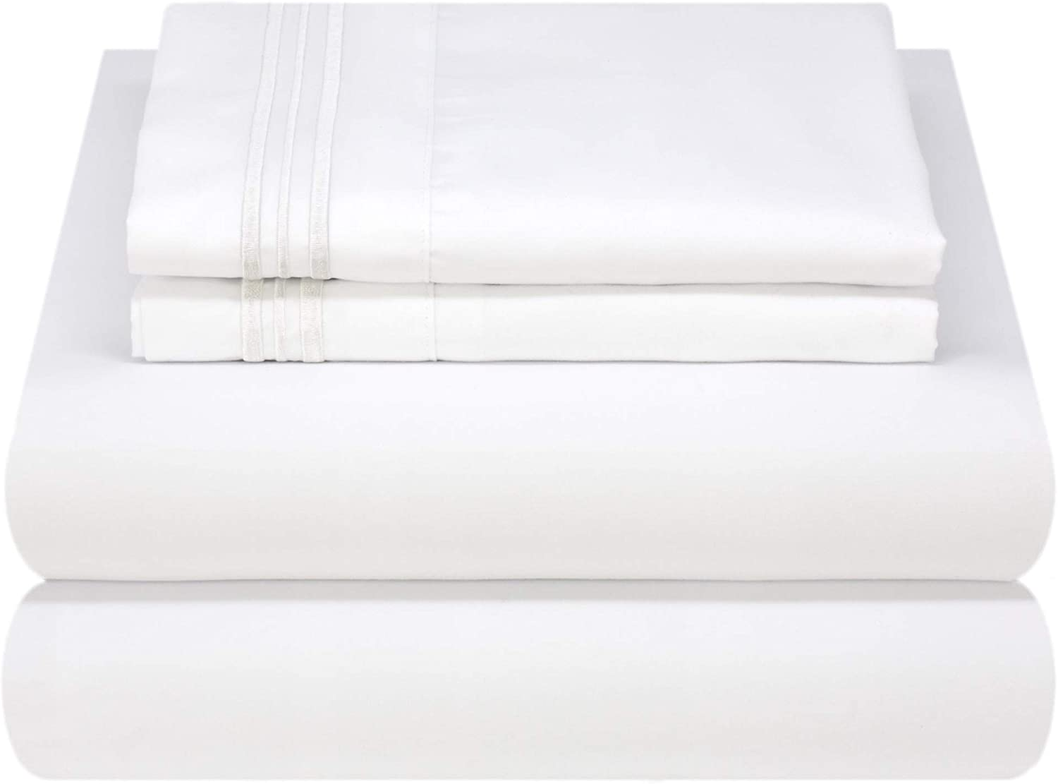 Mezzati Luxury Bed Sheet Set - Soft and Comfortable 1800 Prestige Collection - Brushed Microfiber Bedding (White, Queen Size): Home & Kitchen