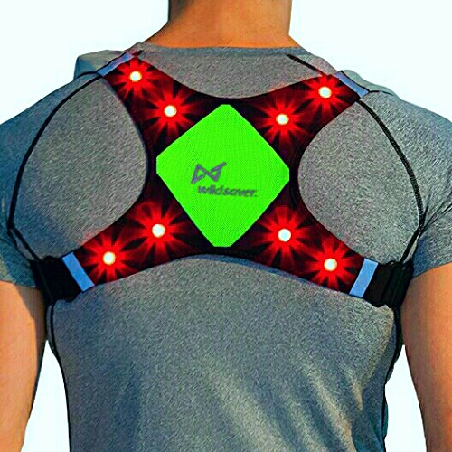 WildSaver LED & Reflective USB Rechargeable Lightweight Lycra & Mesh Vest w/2 Pockets for Night Running, Biking, Cycling, Walking. High Visibility Safety for Men, Women,Kids. (Green, Small)