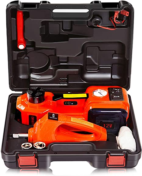 WOKEZ 12V DC 5T 11000lb Electric Hydraulic Floor Jack and Tire Inflator Pump and LED Flashlight 3 in 1 Set with Electric Impact Wrench Car Repair Tool Kit