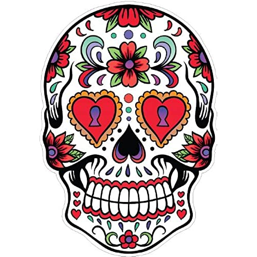 Day of the dead decal rockabilly rock vintage sugar skull sticker 33