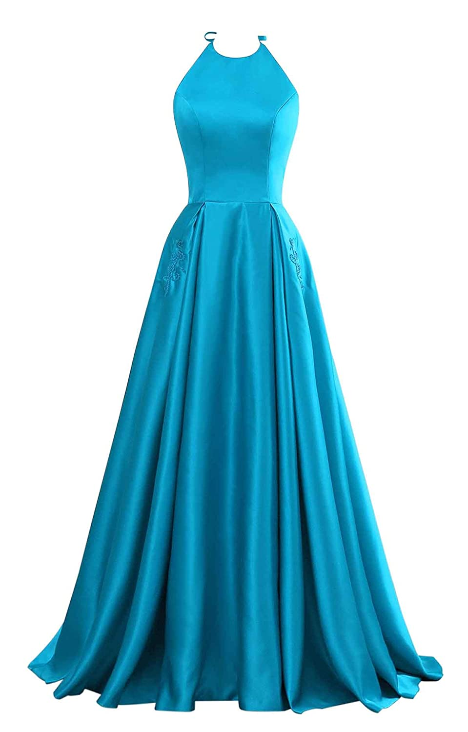 bluee Changuan Halter Aline Satin Evening Prom Dresses for Women Beaded Long Formal Gown with Pockets