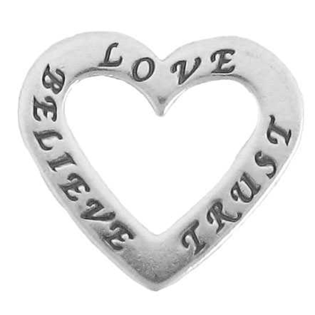 Sterling Silver Womens 1mm Two Sided BELIEVE LOVE TRUST Heart Shaped Affirmation Slide Pendant Necklace