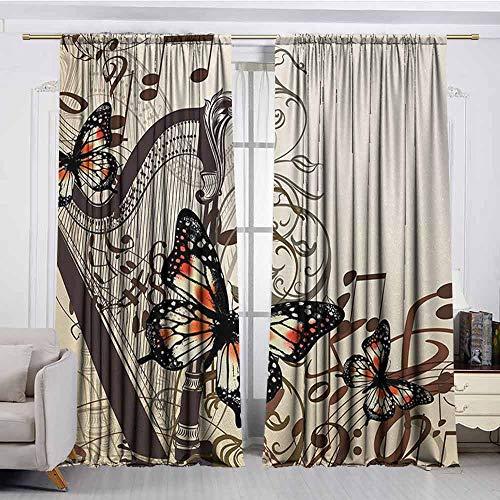 (XXANS Extra Wide Window Curtain,Butterflies,Darkening Thermal Insulated Blackout,W84x84L Inches,Cream Orange Black)