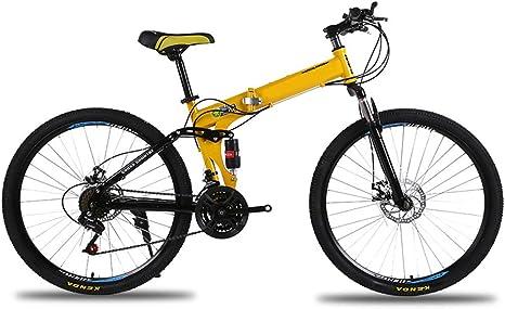 KXDLR Marco De 26 Pulgadas Bicicleta De Montaña Plegable De Acero Al Carbono 24 Speed Shift Bici Plegable De La Bicicleta De Montaña con Doble Suspensión,Amarillo: Amazon.es: Deportes y aire libre