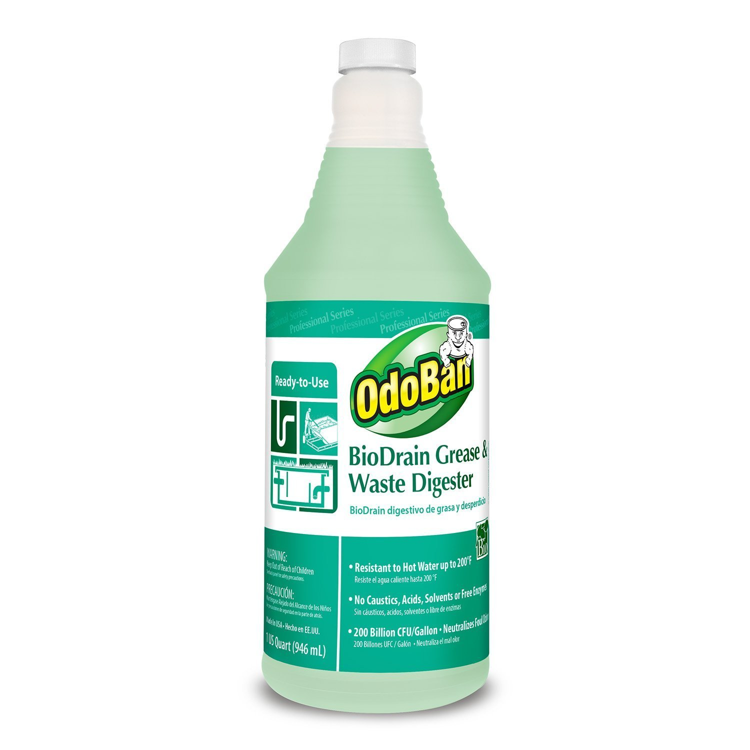 OdoBan 928062-Q12 RTU BioDrain Grease and Waste Digester, 1 qt Bottle