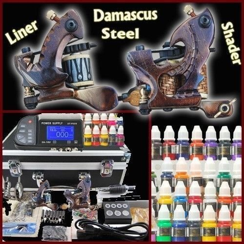 TOP PRO LEVEL Digital Complete Tattoo Kit Machine 2 Top Damascus steel Handmade Guns machines 40 Top tattoo Inks