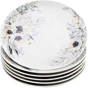 """Gsain 8"""" Porcelain Appetizer Plates Decorated with Beautiful Flower Patterns, Ceramic White Round Dessert Serving Plate for Bread,Dessert,Snack,Salad and Finger Food (Set of 6)"""