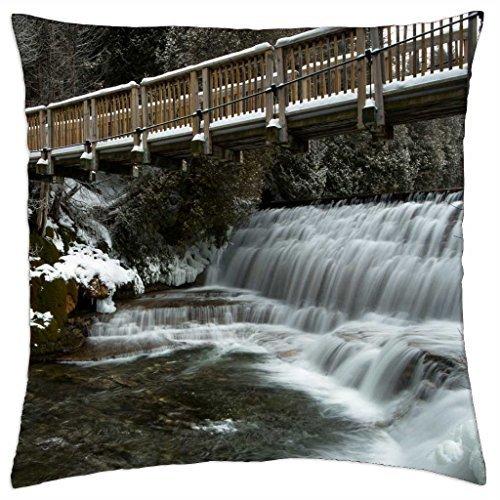 iRocket - lovely pedestrian bridge over waterfall in winter - Throw Pillow Cover (18
