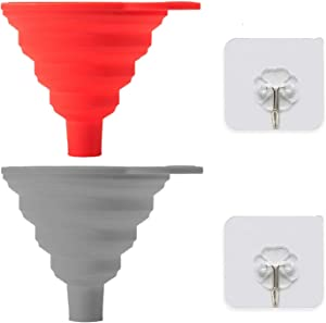 2 Pcs Silicone Collapsible Funnel With 2 Pcs Hook,Kitchen Funnels For Filling Bottles, Food Grade Silicone Oil Funnel,Small/Mini Funnel For Oil,Beer and Flask (Gray and Red)