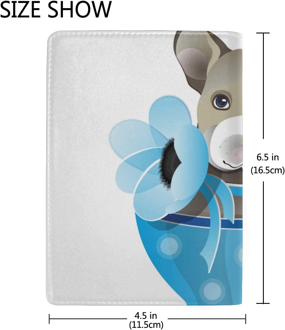 Cute Little Puppy Sit In A Cap Blocking Print Passport Holder Cover Case Travel Luggage Passport Wallet Card Holder Made With Leather For Men Women Kids Family