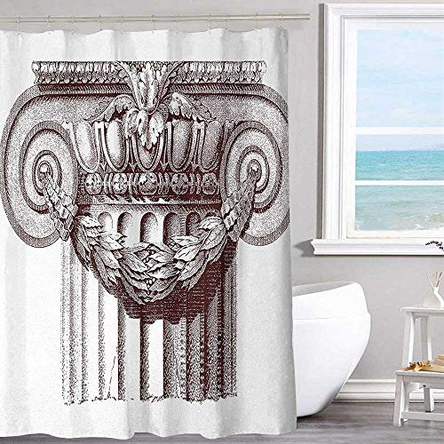"""MKOK Camping Shower Curtain 70""""x70""""inchAncient,Classical Antique Column Roman Empire Architecture Heritage Culture Print,Burgundy and White for Bathroom Showers Stalls and Bathtubs"""