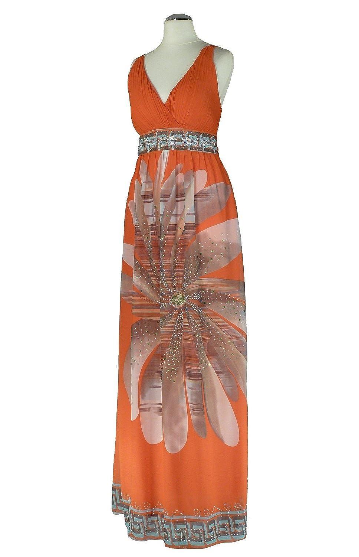 AZ1311 - Samtlebe® - Chiffon Abendkleid lang mit Strassbesatz in Floraldruck Gr. 34/38 (one size) in Koralle