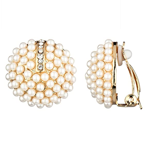 Vintage Style Jewelry, Retro Jewelry Valeries Gold Imitation Pearl Cluster Button Clip On Earrings $10.00 AT vintagedancer.com