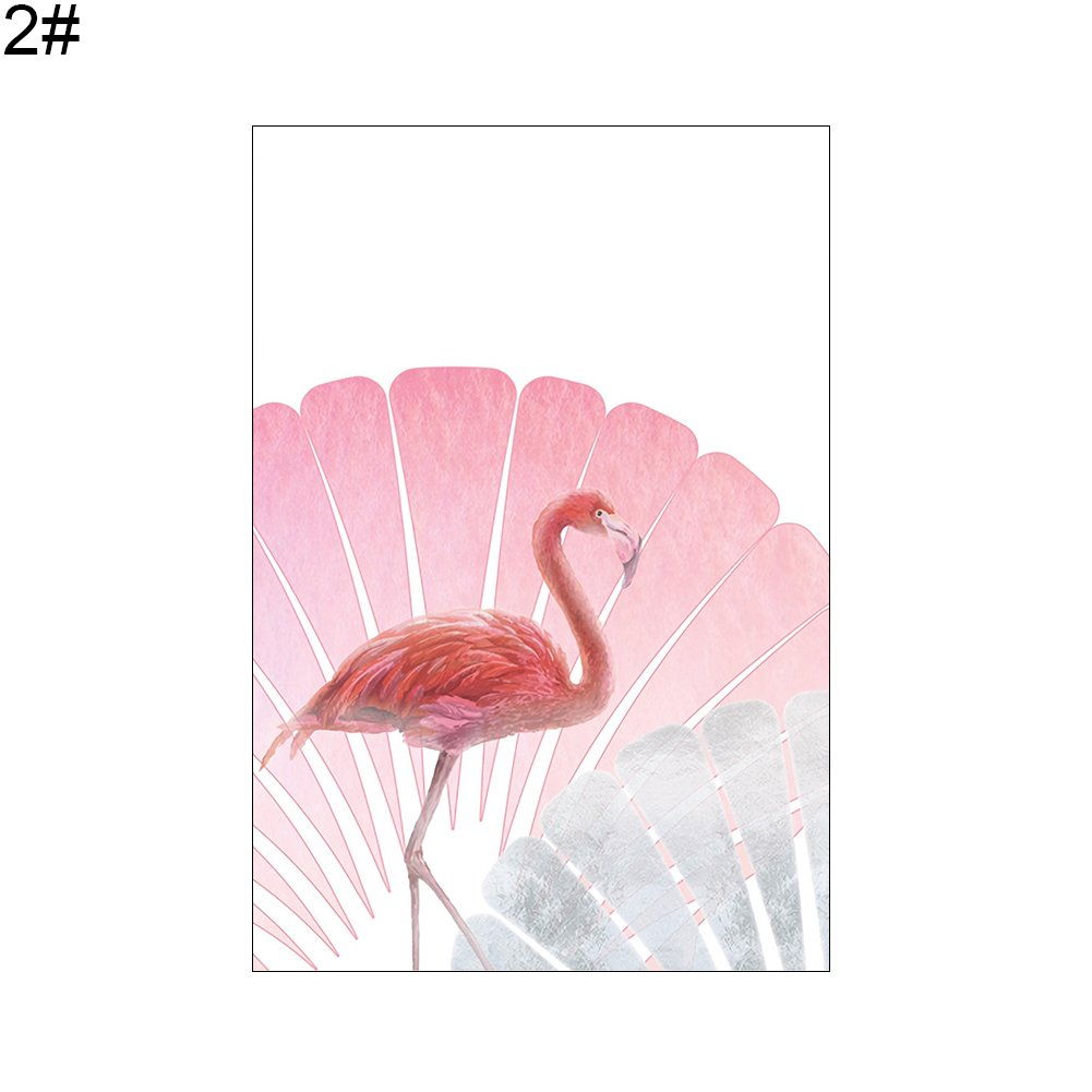 856store Creative Nordic Flamingo Leaves Wall Art Canvas Painting Unframed Home Decor Picture - 2# 21cm x 30cm