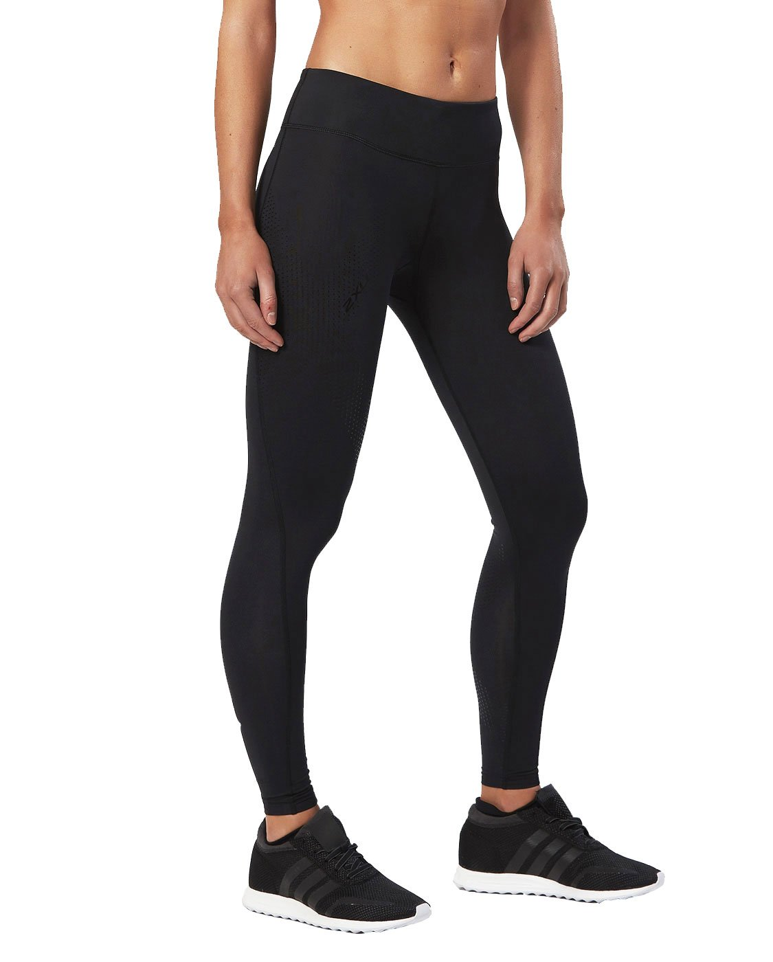 2XU Women's Mid-Rise Compression Tights, Black/Dotted Black Logo, X-Small