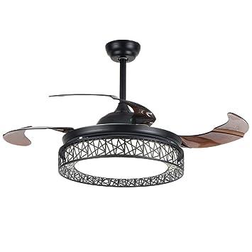 Parrot Uncle Led Ceiling Fans Remote Control Retractable Blades Semi Flush Mount Ceiling Fan With 4000k Neutral White Light Black