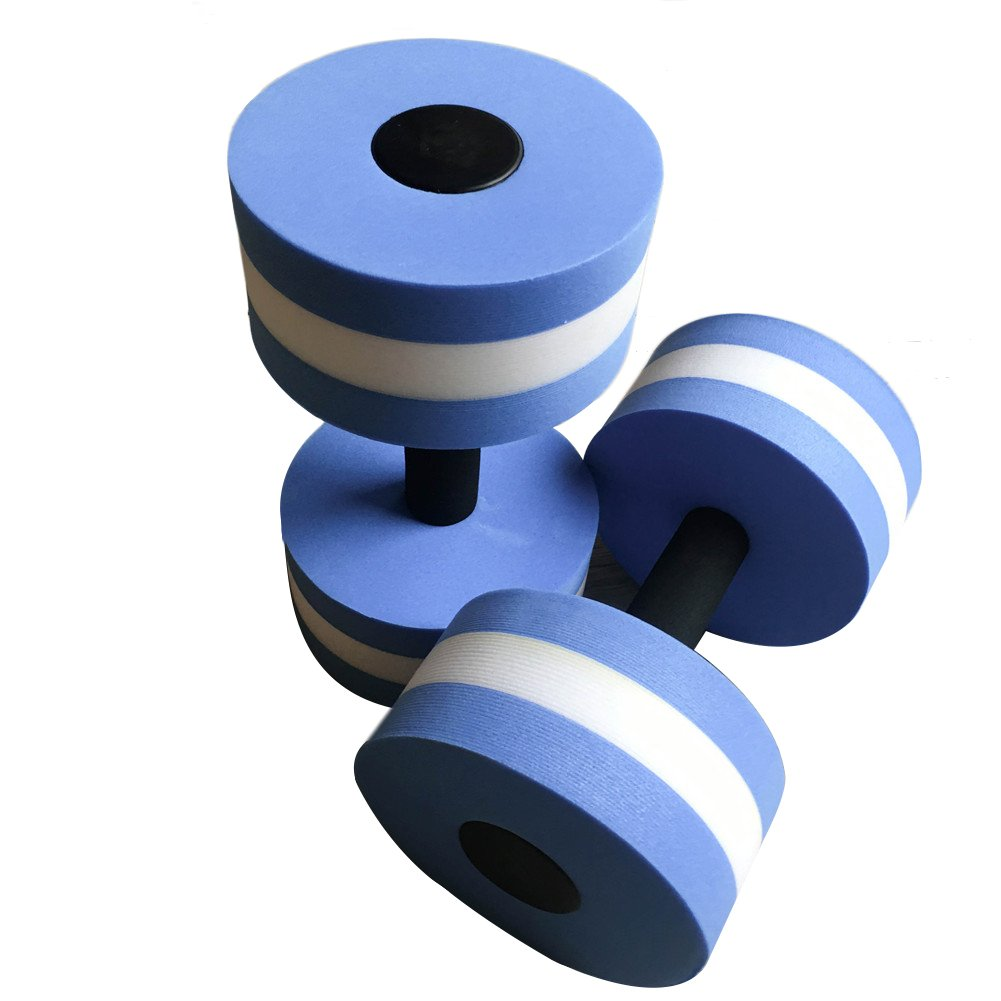 Aquatic Exercise Dumbells, 2Pcs Water Foam Dumbbells Aqua Fitness Barbells Exercise Hand Bars for Water Aerobics (Blue) Aneil