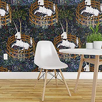 Spoonflower Peel and Stick Removable Wallpaper, Unicorn