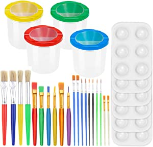 30 Pack Painting Tools Paint Brushes for Kids, Paxcoo Kids Paint Brushes with Paint Cups Paint Palette Tray for Kids Gifts Birthday Art Party School Prizes