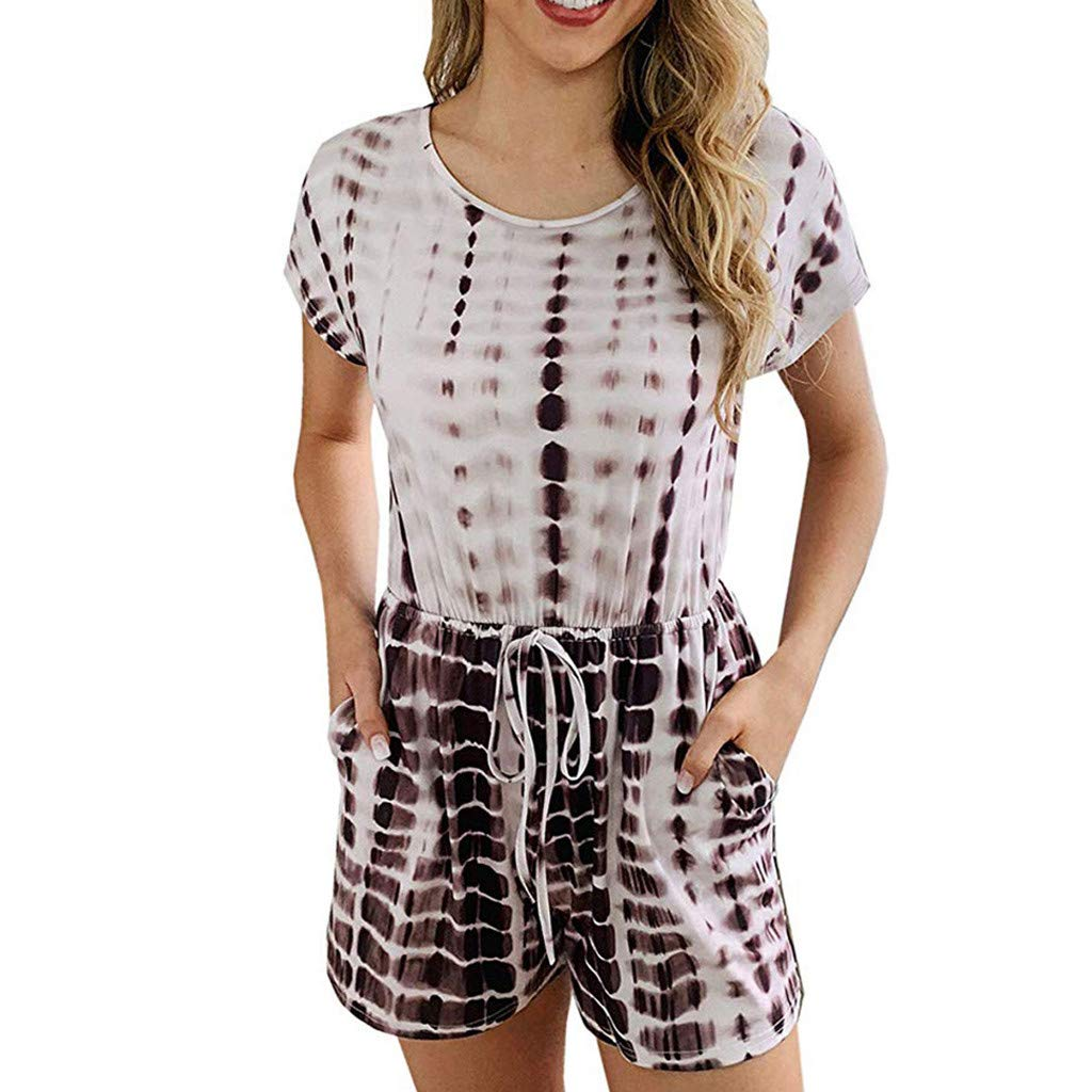 TOTOD Women's Playsuits Short Sleeve Round Neck Boho Print Drawstring Shorts Jumpsuit Brown