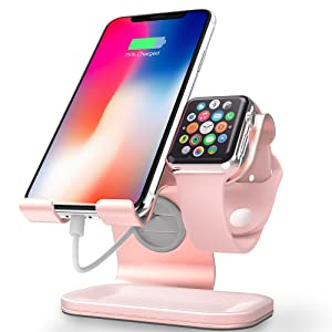 Cell Phone and Apple Watch Stand, ZVEdeng Phone Apple Watch Charging Station Stand Dock, Universal Stand Holder for iPhone 11 Pro Max 11 11 Pro and Apple Watch Both 38mm-42mm (Rose Gold-Leather)