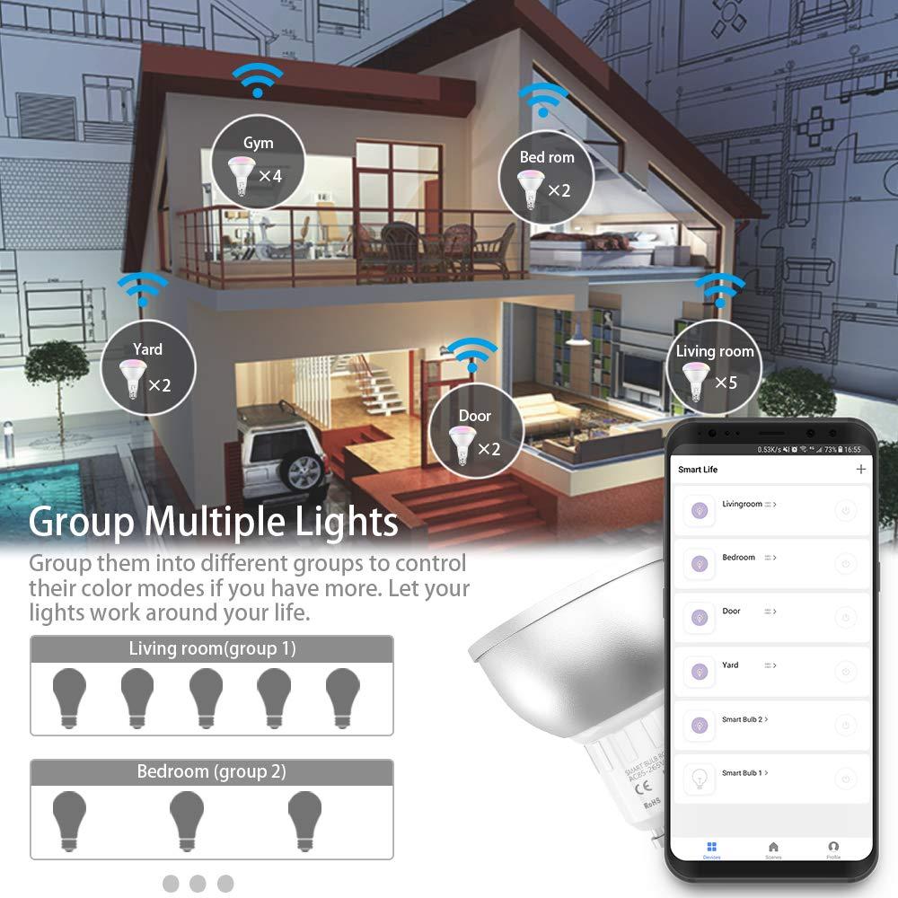 5 W EXTSUD WiFi Smart Lampe GU10 funktioniert mit Alexa LED Gl/ühbirnen Google Home und IFTTT 2er Pack 40 W RGB 2700~6500K dimmbar