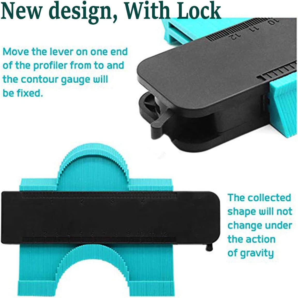 Blue 5inch 1 Pieces Contour Gauge 5 with Lock Duplication Gauge Profile Copy Tool Shape Measuring for Corners and Contoured