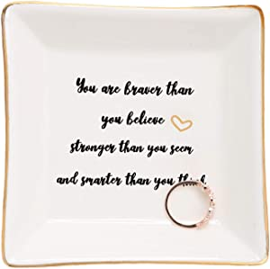 HOME SMILE Inspirational Gifts for Adult Daughter Ring Trinket Dish-You are Braver Than You Believe,Stronger Than You Seem,Smarter Than You Think