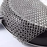 Cast Iron Cleaner Stainless Steel Chainmail Scrubber for Cast Iron Pans 8x6 in