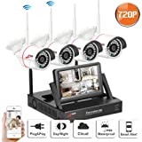"Wifi Security Camera System 4CH with 7"" Monitor Home Surveillance Camera Wireless 3.6mm Wide Angle 49ft Night Vision CCTV Camera System 4pcs Wireless IP Bullet Cameras Plug and Play SW SWINWAY Anran"