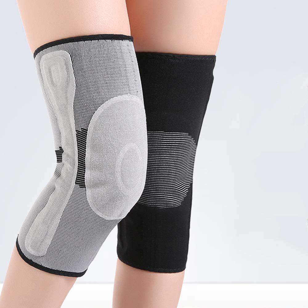 YHDD 男性と女性のための膝パッド、暖かい膝関節とビロードのような肥厚、自己発熱膝パッド - 5サイズのオプションのブティック 黒 Large