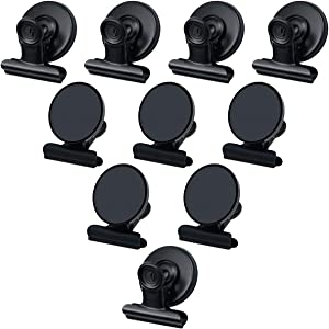Magnetic Clips,Black Magnet Clips for Fridge Heavy Duty Metal Clip Magnets Strong 1.5Inch Wide for Office Classroom Whiteboard Refrigerator,Pack of 10 Clips-Black