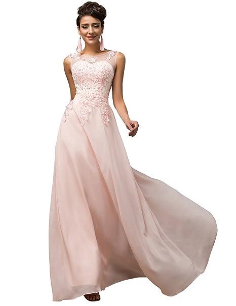 Lea Amalia - Vestido de noche, para mujer, reina de la noche rosa claro