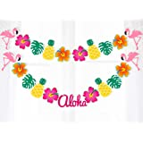 2 Strings Hawaiian Luau Garland Ribbon Banners - Tropical Hibiscus Flowers Flamingo Summer Pool/Birthday Party Decorations Supplies
