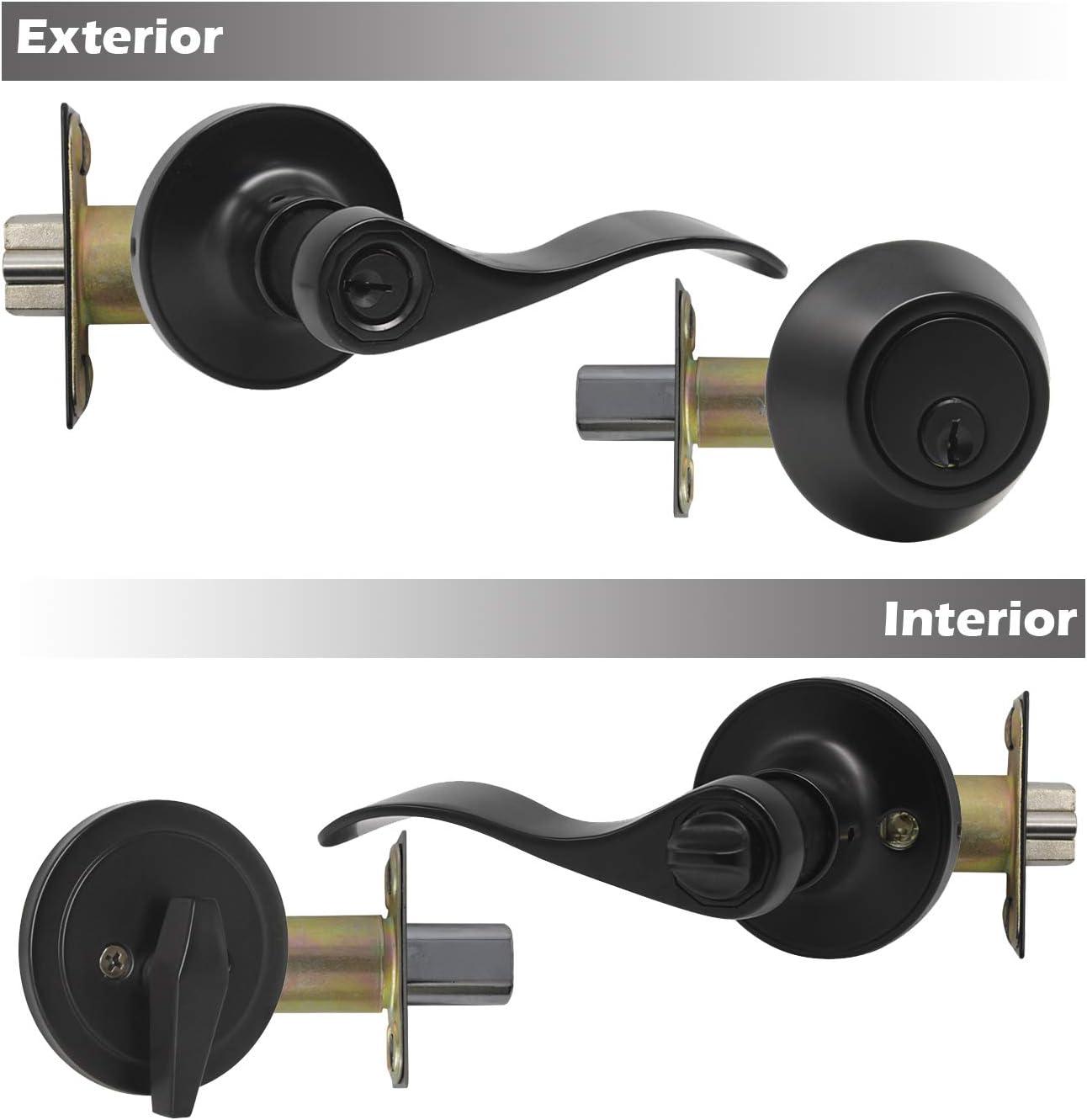 Black Finished 1 Pack Front Door//Exterior Door Lever Lockset with Double Cylinder Deadbolt Combination Set Keyed Alike