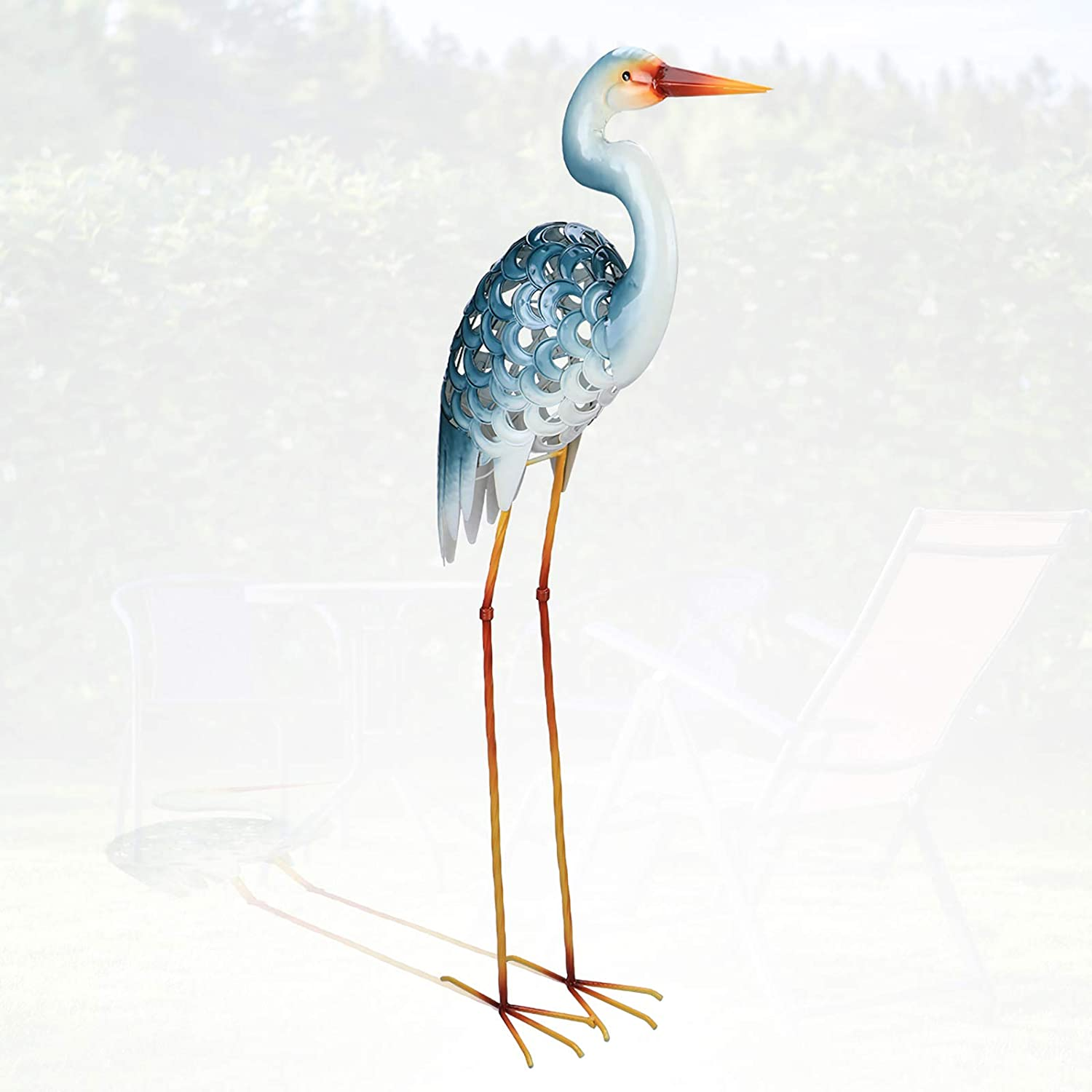 MUMTOP Garden Egret Statues 42.5 Inch Metal Standing Art Sculpture Decorative White Crane Garden Decor for Home, Patio and Lawn