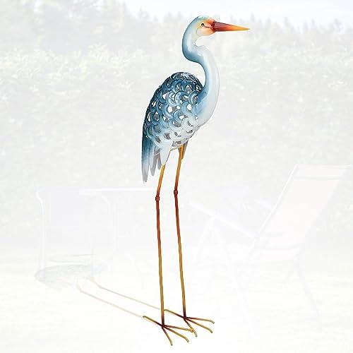 Garden Egret Statues 42.5 Inch Metal Standing Art Sculpture Decorative White Crane Garden Decor