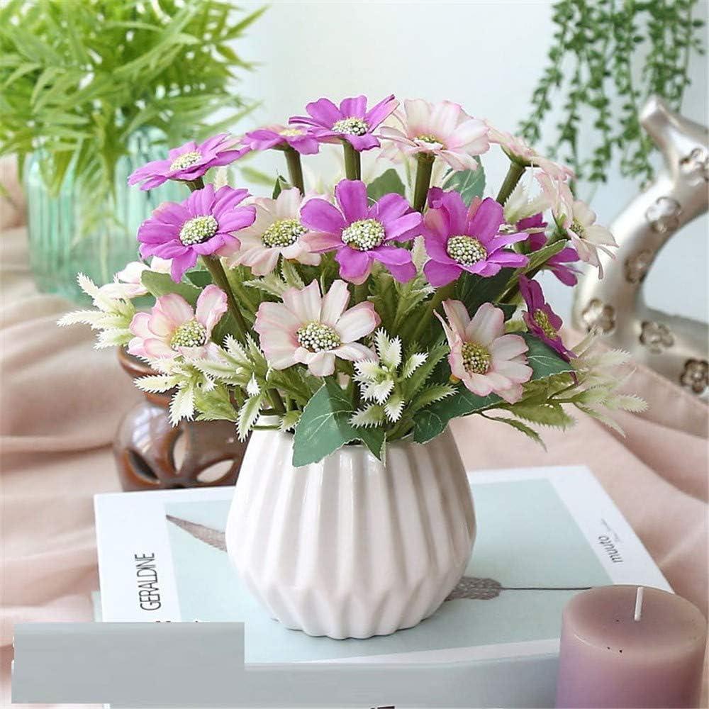 Licxcx Flores Artificiales Decorativos pequeños Muebles de Dormitorio en macetas de plástico Ramo seco decoración arreglo de Flores Artificiales Flores Artificiales, púrpura, crisantemo de Primavera: Amazon.es: Hogar