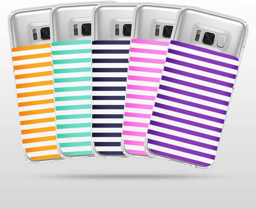 Galaxy /& Other Smartphones and Cases Multiple Credit Card Slots Transparent ID Pocket Pouch Universal Fit Cell Phone Credit Card Holder Stick On Wallet w//RFID Protection Compatible with iPhone