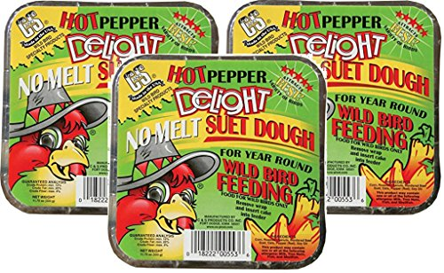 C & S Hot Pepper Delight No Melt Suet Dough Cake (3 Pack / 11.75 oz Each) ()